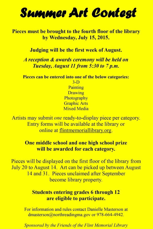 Flint Memorial Library Art Contest Rules 2015b
