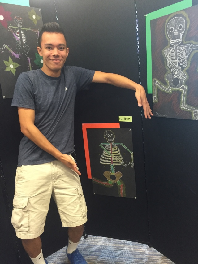 Rudy Carlson with his lively skeleton